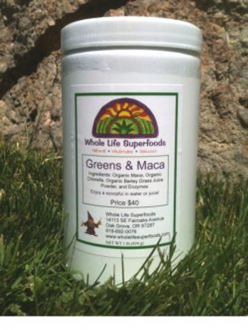 Whole life super foods greens and Maca  Greens and Maca has 4 Potent Ingredients: Organic Maca, Organic Chlorella, Barley Grass Juice Powder and Enzymes   This one is my favorites. You will soon want to  recommend it to all  of your friends. Women seem to love Greens and Maca.  Super foods for a great tasting way to make your smoothie.   Wonderful formula very top quality. Maca is considered the ginseng of South America and grows above 14,000 ft so it gives a real energy boost.