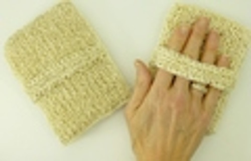 This a hand made rectangle with a strap and had a sponge inside. All Ayate products are made and  manufactured Fair Trade and  with renewal able resources.  It comes with a dry skin brush brochure about the benefits.