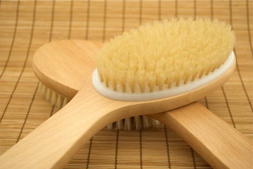 Wooden Bath and Body Vegetable Bristle Brush  Shower or dry skin brush. This brush has a plastic liner base for shower, sauna, or dry brush.