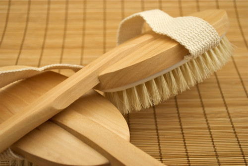 "16"" back brush wood handleWooden Bath and Body Vegetable Bristle Brushes  Shower or dry skin brushes.  This brush is lined with plastic for the shower or sauna.  All wood will last and make your skin glow."