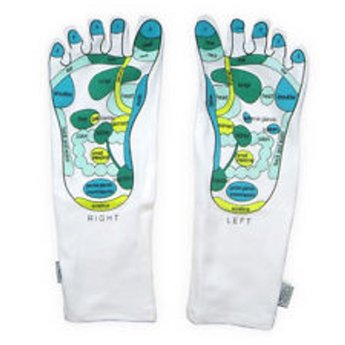 Rainbow reflexology socks for a  massage treatment, Fun and educational, and comes packaged in a pair.  This item can be used on the feet at night with cream or lotion to soften the feet too.