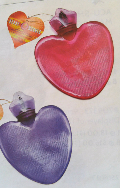 he Big Heart Hot Water Bottle is for therapeutic relief of aches and tension. Just Fill up with hot water and wrap up with a towel if desired. Feels really good at bedtime.  Purple or Pink.
