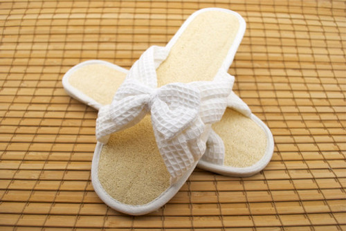 loofa slippers are good for foot scrubbing and we have a new style in stock right now with a waffle fabric top