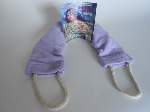The Spa Herbal Pack in a soft Lavender fleece can be warmed in the microwave and will feel great on a cold day.  It  comes bagged and has a beautiful tag with instructions.  Thermal flax and grains are therapeutic used cool for the shoulders, neck and lower back