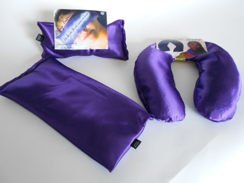 The best value and makes a beautiful gift our eye pillow, heat therapy pillow, and crescent shaped neck pillow come in a gift box.  We have many beautiful colors.   Comes in Silk Satin or Fleece.  Popular colors are  animal print, burgundy, gold, purple, blue, and green.