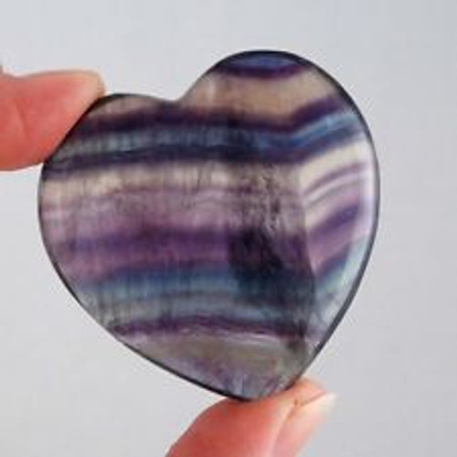 Florite heart for healing natural comes with a carry bag  From Brazil and blessed
