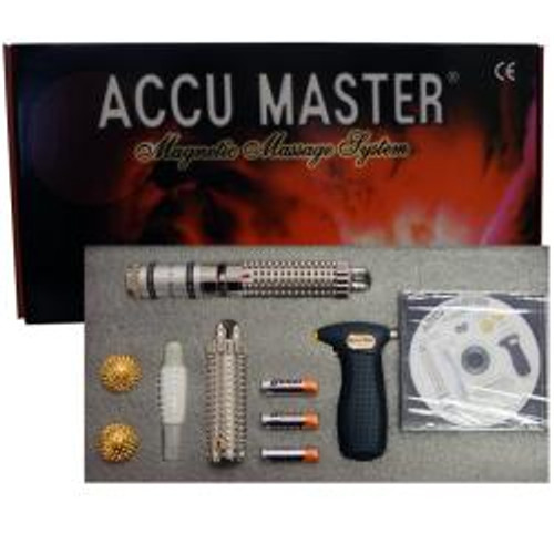 This kit comes with an informational DVD, and two acupressure charts.  This 5-piece acupressure kit will cover all your massage needs Kit includes five (5) pieces:  Magnetic Accu  Needle Balls: Used to massage for hands and soles of your feet Mini Massager Touch: Enjoy the benefits of a relaxing vibrating temple massage. For the face and  for soft multiple points it is easy to massage your neck and shoulder tension away. Magnetic Silver Star Zapper: The star of he show because it has a crystal spark that really moves a lot of energy. It comes with batteries and vibrates at 5000 RPMs.  Especially good to remove blockages and pain. Magnetic Acc-u-Sager: This vibrating device provides easy acupressure on your hands and feet it is very effective. Magnetic Handle Acc-u-Sager: Handle will provide easy to reach reflexology pressure points that stimulate blood circulation so you can reach sore muscles The Accu Master Kit has a new video please see it on the website or or youtube.