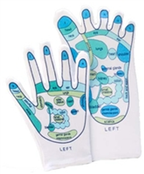 Just the gloves Reflexology gloves blue and green colors fun for your friends. Can be used for a beauty treatment