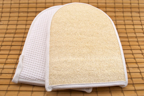 Mitt Loofa exfoliating scrubber organic fabric fair trade Terry cloth back Natural loofa and cotton organic fabric,  material and each comes wrapped and labled.  Ask for our dry skin brush brochure.  Good with a salt or sugar scrub