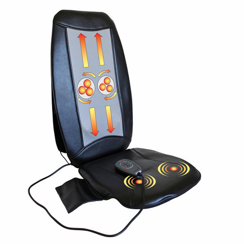 Luxury portable massage cushion   Transform any ordinary chair into a luxury massager!   Features:      Kneading massage options:         Upper back         Lower back         Full back     Optional seat vibration     Three intensities available     Straps to any chair     Handheld controller     15-minute automatic shut-off function     AC adapter