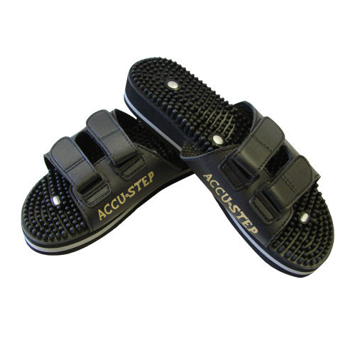 Unique, rubber-tipped massage sandals that combine the concepts of reflexology and magnet therapy to relieve pain and improve sleep without harmful side effects.  Relax, rejuvenate, and restore your health through your feet!  The Accu Step massage sandals emulate the effects of a foot massage, without the hassle and expense of using a massage therapist.   A basic technique in reflexology applies pressure to specific nerve endings on the feet to stimulate other parts of the body.  The pressure signals the brain to make necessary adjustments in its distribution of nutrients and oxygen to specific organs.  At the same time, this pressure also directs muscles throughout the body to modify their overall tension level, leaving you feeling relaxed and stress free.