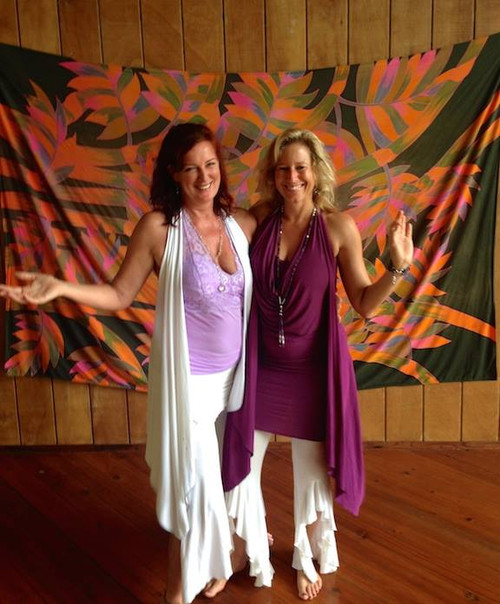 """A happy customer for years: """"I Love Laughing Goddess Clothing Yoga Wear and wear it all the time!! Here we are in Hawaii teaching Tantra, Breath & Awakening and wearing your clothes!""""   Please see the Vest and Frilly Pants products to put this product in your shopping cart.  Lots of colors and reversible.  Great dance pants very flattering to the legs or calves."""