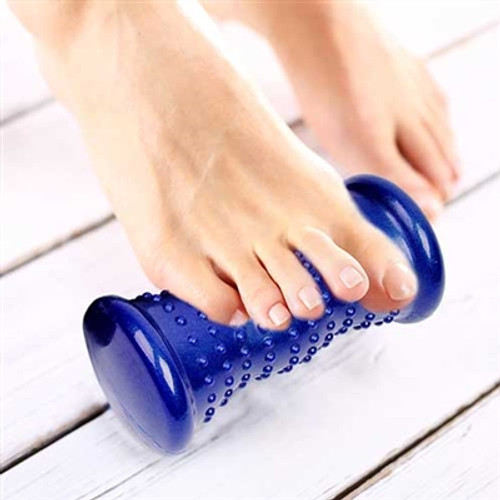 "Excer Fit Hot & Cold Pedi Roller foot roller hot or cold. Excer Fit Hot & Cold Pedi Roller  Provides up to 20 minutes of hot or cold therapy. Ergonomic shape contours to arch of the foot. Textured surface to massage and stimulate sore, tired feet. Made of PVC/TPE composite. Size: 18cm (7"")"