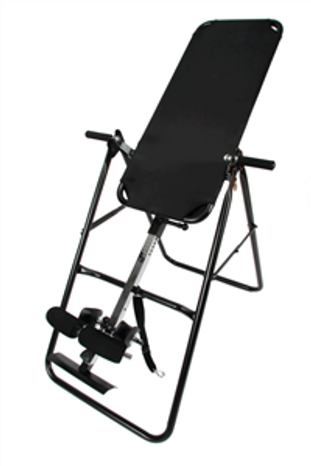 """Hang upside down inversion table back stretch - Benefits  Invert 160 degrees with the nylon strap and 180 degrees without strap Heavy duty steel frame Adjustable for individuals from 4'10"""" to 6'6"""" in height 3 position roller hinge allows speed control and rotation 20 adjustments for user Superior padding for ankle support Auto-locking hinges Specialized pivot bearings Easy-to-read chrome height adjust bar Heat treated high carbon steel Curved foam ankle clamps Durable injection-coated rubber hand grips"""