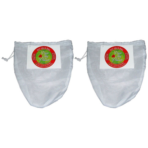 These are the highest quality nut milk bags you will find anywhere. The amazing nut milk bag is a large, oval-shaped, draw-string bag made of a very sturdy nylon so you can use it over and over again to make your own nut milk, juice or sprouts. This works better than cheesecloth because it does not let pulp through and does not stretch out in the same way that organic materials do. It is better than a mesh screen because you can squeeze it. Maximizing your yield and minimizing your preparation time. The bag will hold up to 4 cups at one time. Imagine never having to buy a non-recyclable boxed milk again. Instead, make your own raw milk of any nut or seed you like! why buy plastic packages of expensive sprouts when you can sprout your own seeds, grains and legumes? If you don't feel like cleaning up after your juicer or just don't have a juicer, then you can use a blender and strain the pulp through this amazing bag as well! a nut milk recipe is included. You can click here to get a free almond bread recipe for the almond pulp that is leftover from making the milk. Try it and you will be delighted! get one for all of your culinary needs: 1 for green juice, 1 for nut milks and 1 for sprouting. Product specifics It is better than a mesh screen because you can squeeze it Make nut and seed milks at home The bag will hold up to 4 cups at one time White reusable food bag