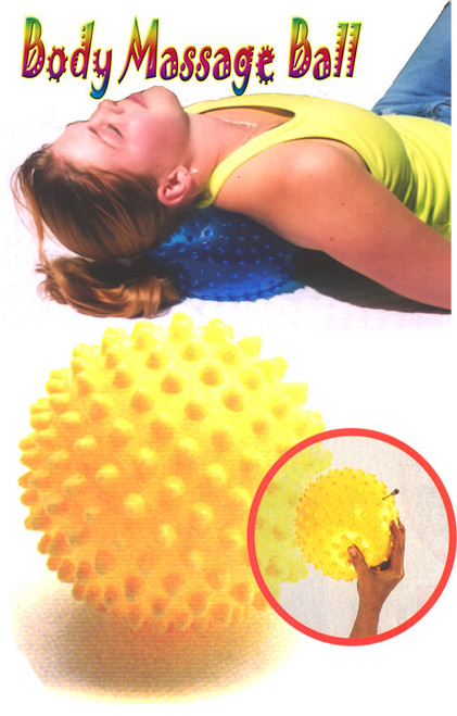 The BT Massage Ball is an inflatable 8 inch vinyl  ball with one third inch nubbins evenly distributed  over its surface for massaging aching muscles of  the feet, back, neck, and legs. Digs deeply into  cellulite and other lumps and bumps. Really brings  the blood circulation to the skin.