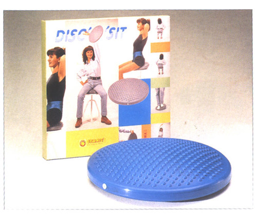Introducing the Disco-Sit for back and postural therapy. The Disco-Sit is perfect for seniors or anyone who is uncomfortable getting on a gym ball. Experience many of the same benefits of a gym ball for performing lower back, pelvic stabilization, and weight shift exercises. Dyna-disc can be stood on for lower extremity balancing. Also can be used also for circulation at a desk or in a car. Available in green, blue, red and black. Inflatable with a standard needle and pump.