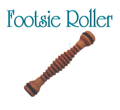 The Classic! Roll the sole of the foot on the footsie roller to increase circulation. Relieve tension. Relax foot muscles and revitalize the body. The family of Body tools Footsie Rollers are quality products made of  Kiln-dried Plantation Grown Mahogany Each piece is hand-dipped in pure oil & beeswax. Comes bagged with new 4 color header cards.  Sharp ridges and rubber o rings