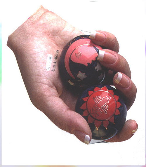 Chinese Exercise balls are the highest quality cloisonne made by a patented process enhancing their quality.   The balls are made in a 64 step process that resists chipping and comes in a beautiful silk box.   The styles are  chrome,  sun and moon,  yin and yang,  longevity and peach,  phoenix and dragon  and panda.