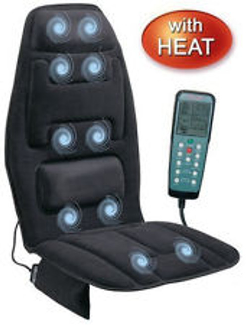 Relax the Back is great.   It has 10 strong 1000 Gauss magnets, a hot heater and a strong vibrator.   Heaven for your car or office chair.     CAR CHARGER AND WALL CHARGER  New and Improved. Comes boxed.