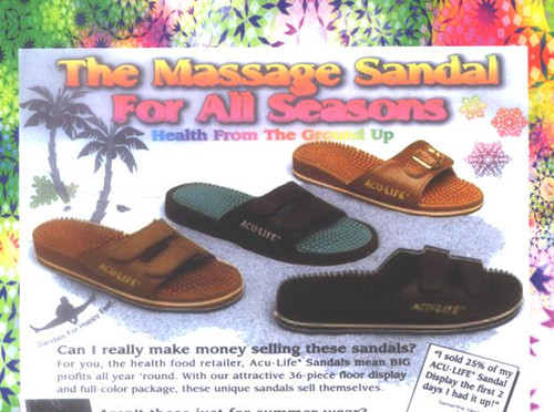 Acu life sandals for foot massage therapy    Based on the principle of reflexology, which has been practiced for at least 5000 years.  Reflexology shows that each important organ and muscle is connected by a network of nerves to a tiny point on the foot where energy terminates.  Pressure applied to these nerve endings by the hundreds of little rubber fingers on the surface of the ACU-LIFE Massage Sandal creates a stimulus. This sets in motion an electro chemical impulse, thus releasing healthful energy along the nerve to corresponding organs.  Improves Circulation Promotes Relaxation Revitalizes Tired Feet Enhances Energy For Women, Men and Children (10+) Durable, Long Lasting & Cruelty Free Wear With or Without Stocks Diabetic Friendly Waterproof Perfect around the house, at work, in the yard, at the gym, beach or poolside.