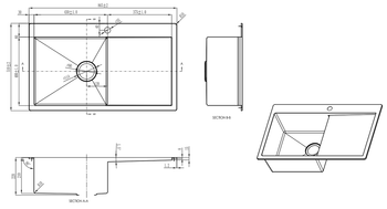 Undermount Single Sink with Tap Whole and Right side Drainer