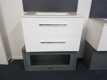 Wall hung vanity unit 800mm wide with 2 x drawers