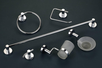 6pcs Chrome ORION Bathroom Accessories Set with Towel Rail, Ring, Toilet Roll Holder, Towel Hook, Class Tumbler and Soap Dish