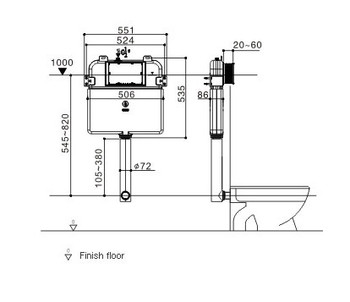 R & T Inwall Cistern and round push buttons G30032