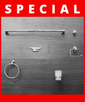 Bathroom Accessories Set    LYRA Chrome 6 piece Set
