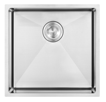 Single Bowl Kitchen Sink 390 x 440 x 215mm 304 SS Undermount or overmount installation Drainer included 1.2mm thickness Brushed surface Rubber pads included Treated with anti-condensation spray