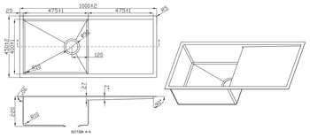 Please note that the drawing is mirror reversed with the drainer on the left side