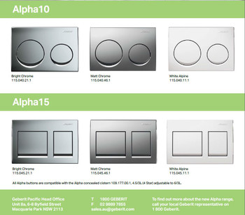 Alpha 8 Geberit inwall cistern with square brushed chrome buttons