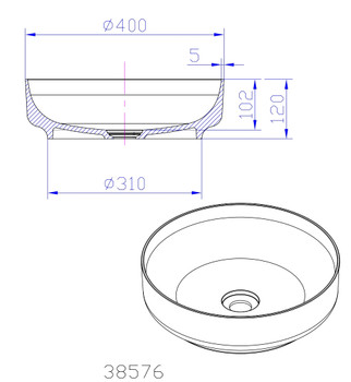 Solid Surface round above counter vanity bowl