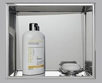 Brushed Nickel Shower Niche 400mm x 400mm x 75mm