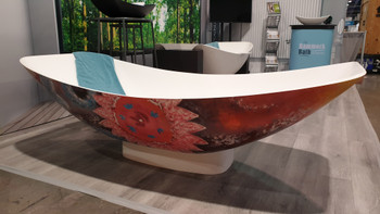 Solid Surface Mirage Hammock Bath Flower (flower motiv external and matt white inside ) 2.0 metre long (this item is pick up only from Oakleigh South)