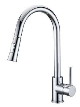 Sleek Pin Handle Kitchen Mixer with Pull-Out Spray Urban Brass