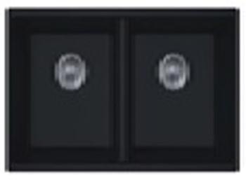 Undermount Double Bowl Granite Kitchen Sink - Matte Black 875*460*220mm