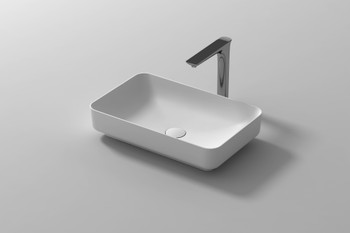 Solid Surface rectangle above counter vanity bowl with soap holder (plug and washer not included)