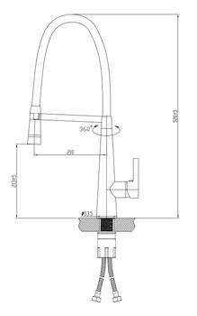 Kitchen Sink Mixer with flexible hose with LED light