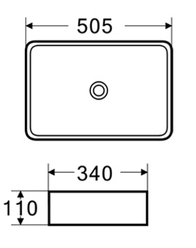 Above counter rectangular vanity bowl matt black finish (no waste included)