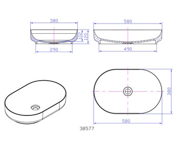 Solid Surface oval above counter vanity bowl (plug and washer not included) matt black