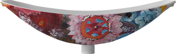 Solid Surface Oasis Hammock Bath Flower (matt white inside & hand painted motif on the outside) 2.0 metre long (this item is pick up only from Springvale)