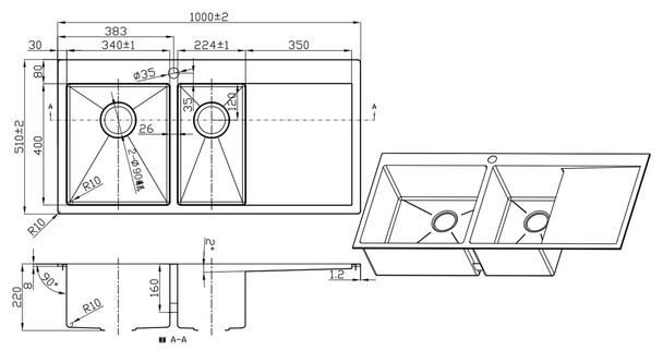 Overmount 1 + 1/2  kitchen Sink with right side drainer and single tap whole