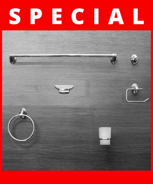 Bathroom Accessories Set |  LYRA Chrome 6 piece Set