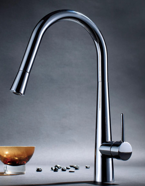 Sleek kitchen mixer with pull out spray chrome finish 130022