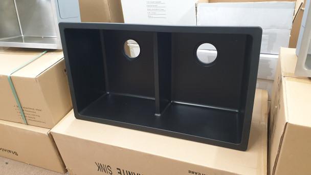 Black double bowl kitchen sink