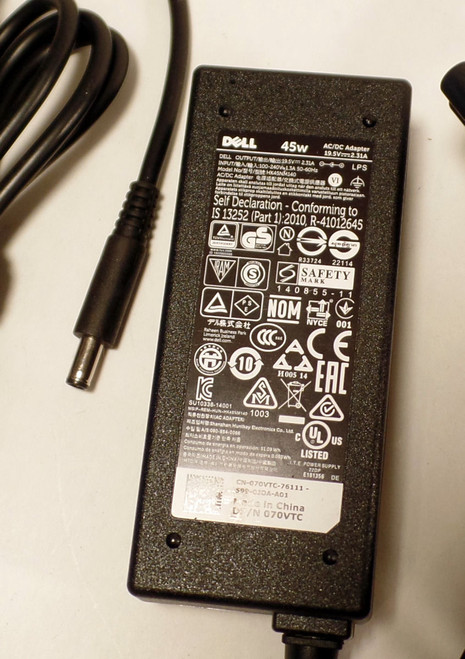 Dell Laptop Charger (AC Adapter) 45W with 4.0mm connector - PN 70VTC, 492-BBSC