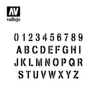 Vallejo Vallejo Stencils - Lettering and Signs Stamp Font