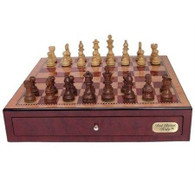 Dal Rossi Dal Rossi - Red Mahogany Chess Box with 85mm Wooden Sheesham Pieces